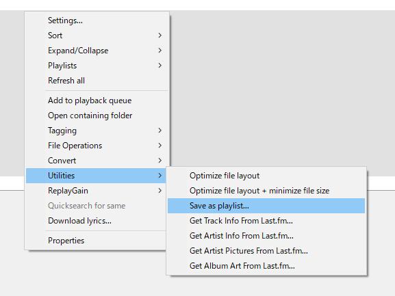 foobar2000でのプレイリストファイル出力方法