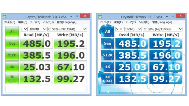 CrystalDiskMark の計測画面